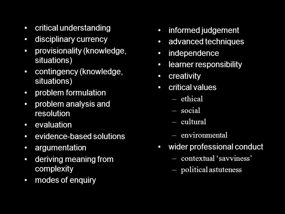 critical understanding disciplinary currency provisionality (knowledge, situations) contingency (knowledge, situations) problem formulation problem analysis and resolution evaluation evidence-based solutions argumentation deriving meaning from complexity modes of enquiry informed judgement advanced techniques independence learner responsibility creativity critical values –ethical –social –cultural –environmental wider professional conduct –contextual 'savviness' –political astuteness