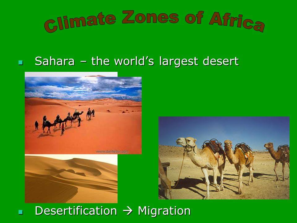 Sahara – the world's largest desert Sahara – the world's largest desert Desertification  Migration Desertification  Migration