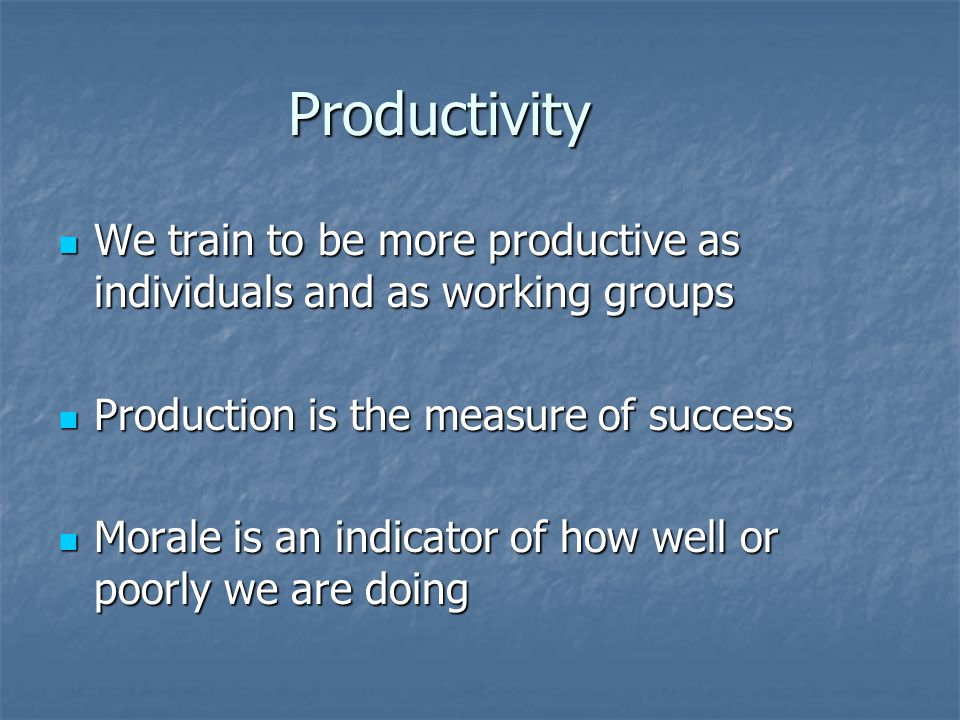 Productivity We train to be more productive as individuals and as working groups We train to be more productive as individuals and as working groups Production is the measure of success Production is the measure of success Morale is an indicator of how well or poorly we are doing Morale is an indicator of how well or poorly we are doing