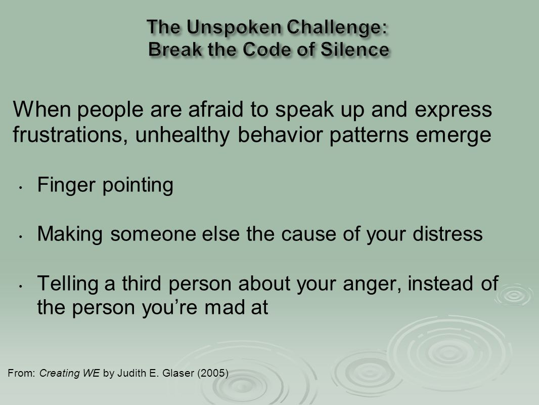 When people are afraid to speak up and express frustrations, unhealthy behavior patterns emerge Finger pointing Making someone else the cause of your