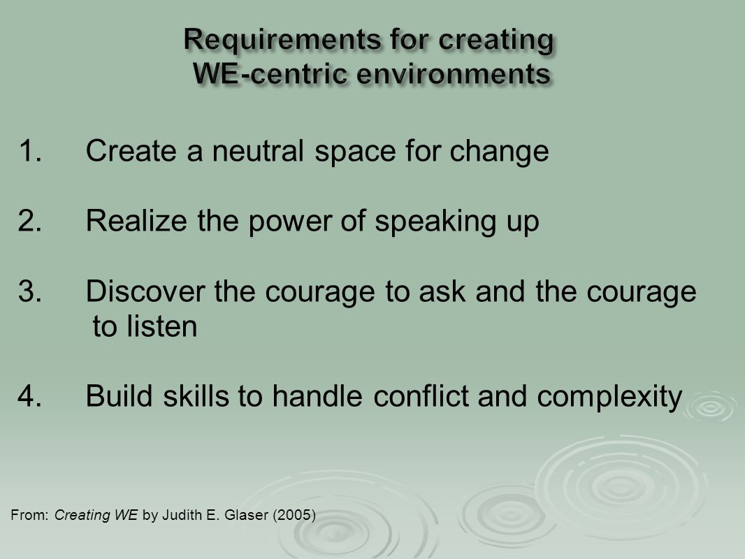 1. Create a neutral space for change 2. Realize the power of speaking up 3. Discover the courage to ask and the courage to listen 4. Build skills to h