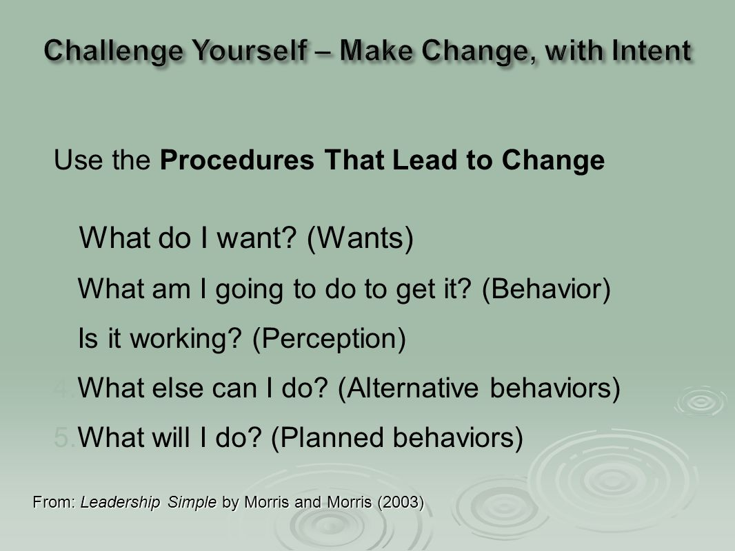 Use the Procedures That Lead to Change 1. 1.What do I want? (Wants) 2. 2.What am I going to do to get it? (Behavior) 3. 3.Is it working? (Perception)