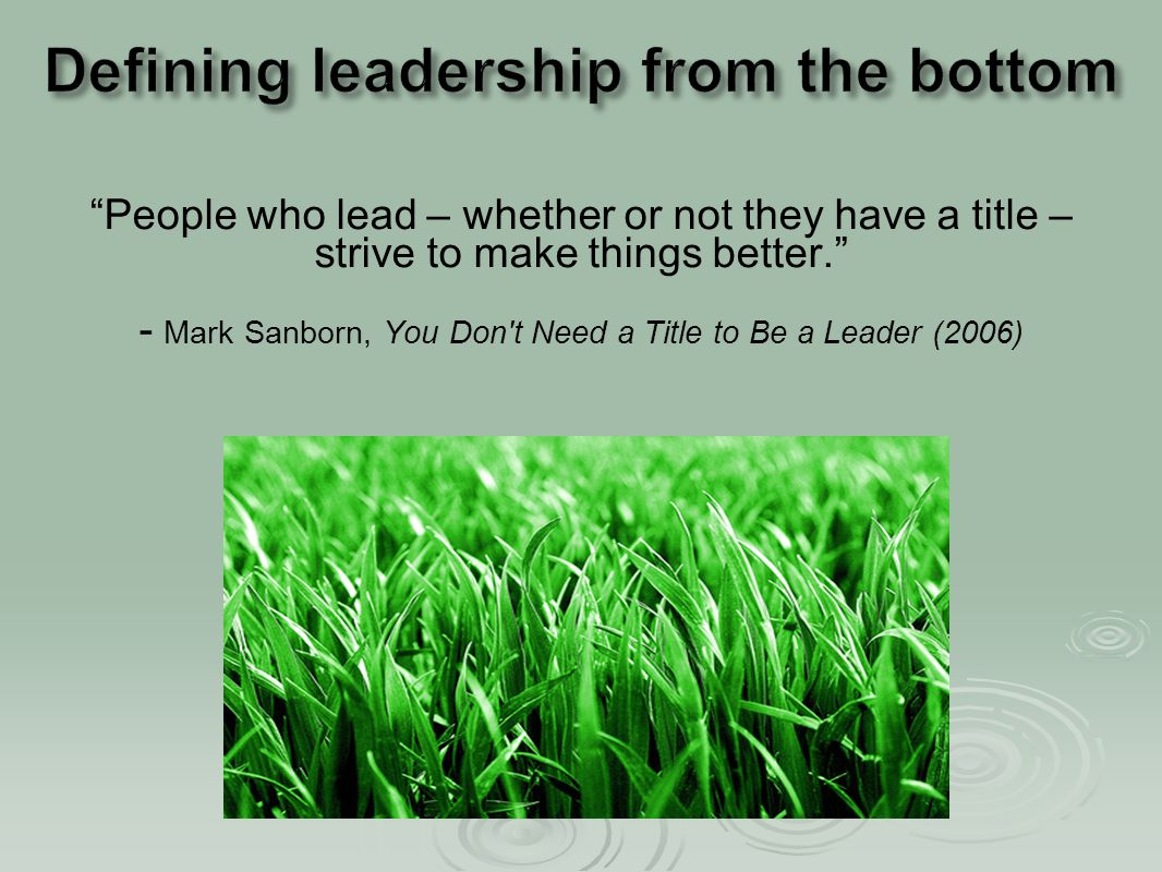"""""""People who lead – whether or not they have a title – strive to make things better."""" - Mark Sanborn, You Don't Need a Title to Be a Leader (2006)"""