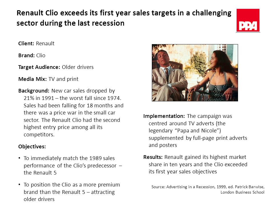 Renault Clio exceeds its first year sales targets in a challenging sector during the last recession Client: Renault Brand: Clio Target Audience: Older drivers Media Mix: TV and print Background: New car sales dropped by 21% in 1991 – the worst fall since 1974.