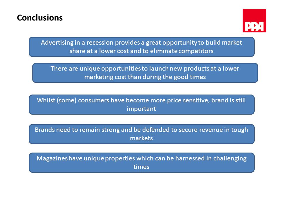 Conclusions Advertising in a recession provides a great opportunity to build market share at a lower cost and to eliminate competitors Whilst (some) consumers have become more price sensitive, brand is still important Brands need to remain strong and be defended to secure revenue in tough markets Magazines have unique properties which can be harnessed in challenging times There are unique opportunities to launch new products at a lower marketing cost than during the good times