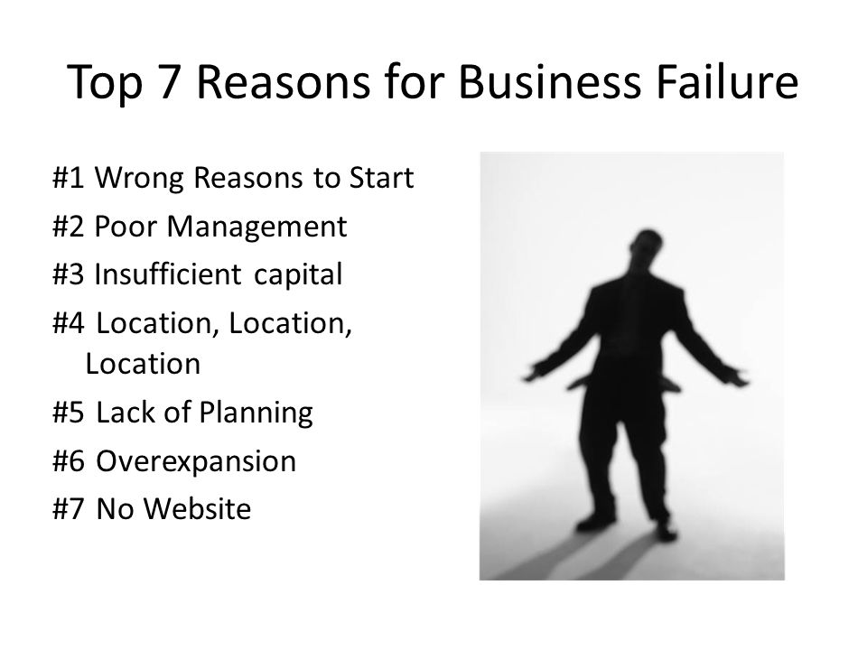 Top 7 Reasons for Business Failure #1 Wrong Reasons to Start #2 Poor Management #3 Insufficient capital #4Location, Location, Location #5Lack of Planning #6 Overexpansion #7No Website