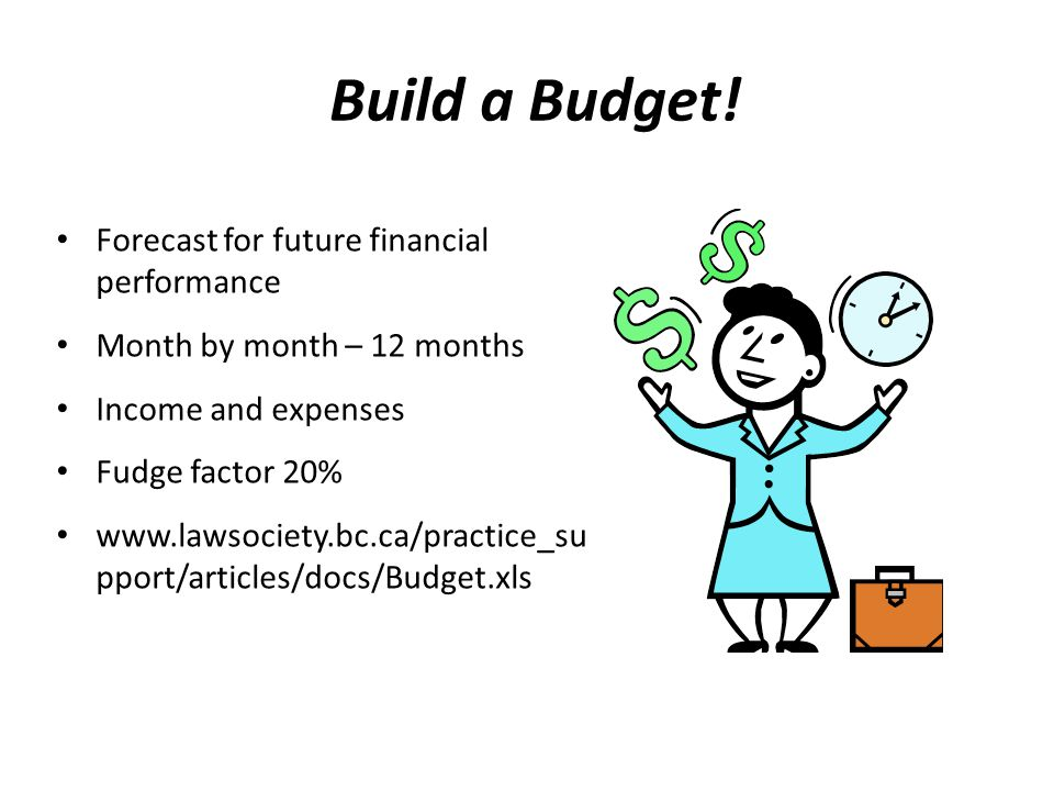 Build a Budget! Forecast for future financial performance Month by month – 12 months Income and expenses Fudge factor 20% www.lawsociety.bc.ca/practic