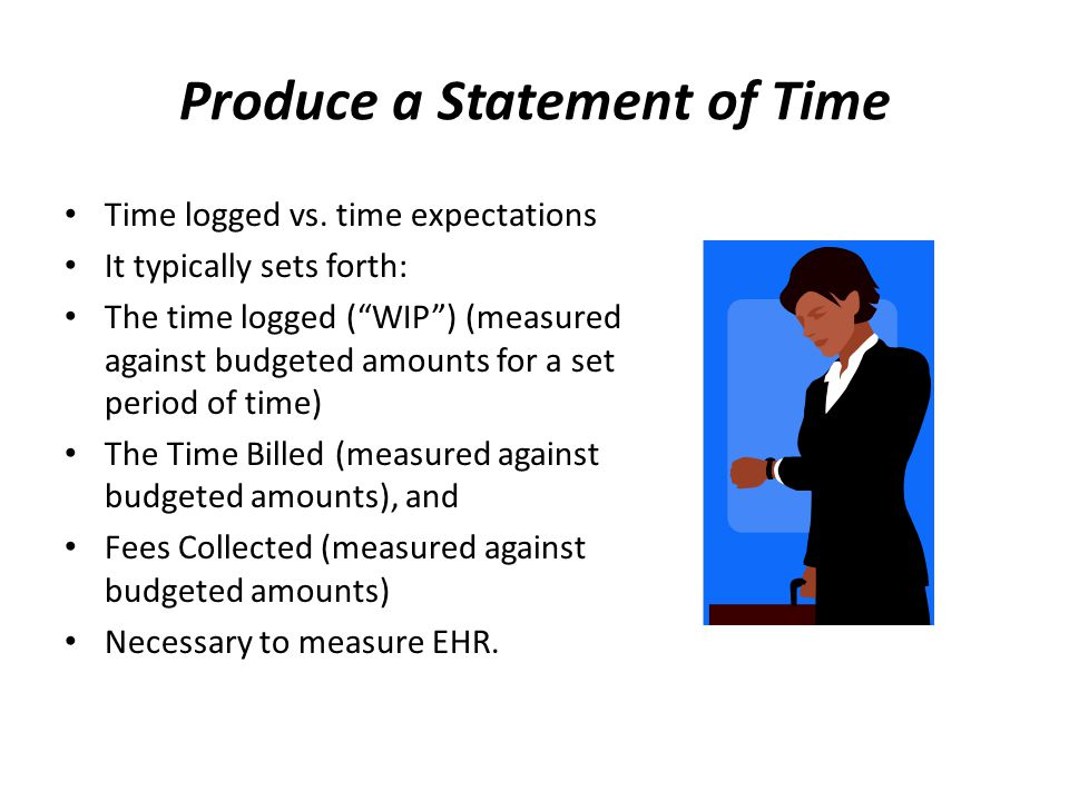 Produce a Statement of Time Time logged vs.