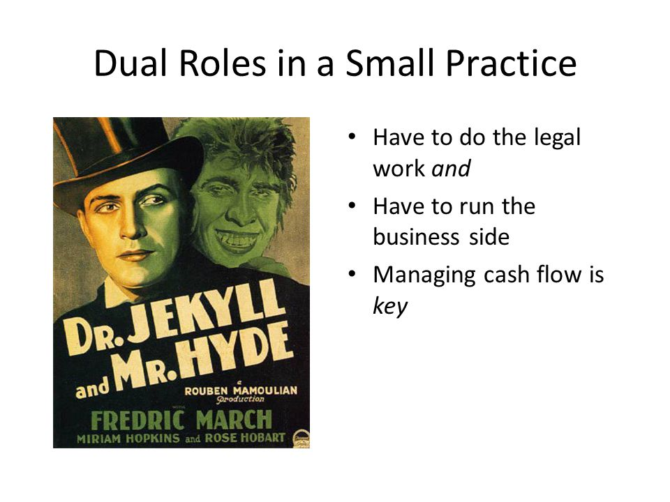 Dual Roles in a Small Practice Have to do the legal work and Have to run the business side Managing cash flow is key