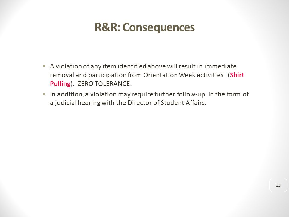 R&R: Consequences A violation of any item identified above will result in immediate removal and participation from Orientation Week activities (Shirt