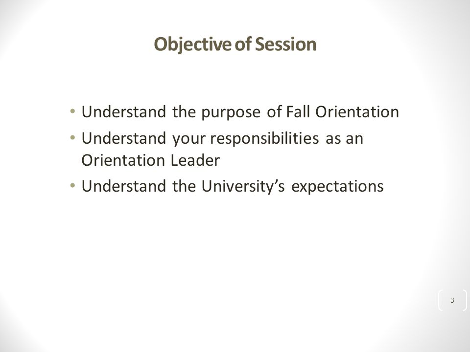 Objective of Session Understand the purpose of Fall Orientation Understand your responsibilities as an Orientation Leader Understand the University's expectations 3