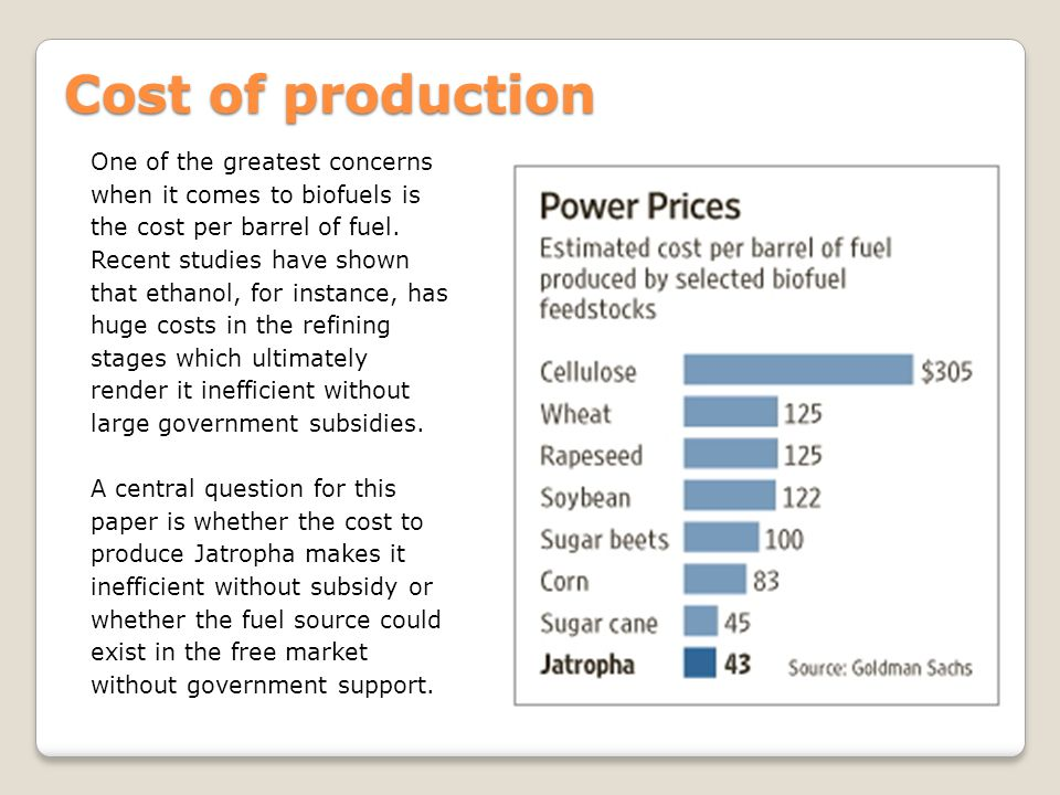 Cost of production One of the greatest concerns when it comes to biofuels is the cost per barrel of fuel.