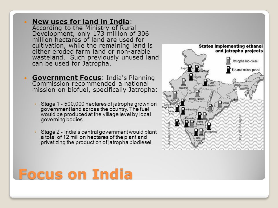 Focus on India New uses for land in India: According to the Ministry of Rural Development, only 173 million of 306 million hectares of land are used for cultivation, while the remaining land is either eroded farm land or non-arable wasteland.