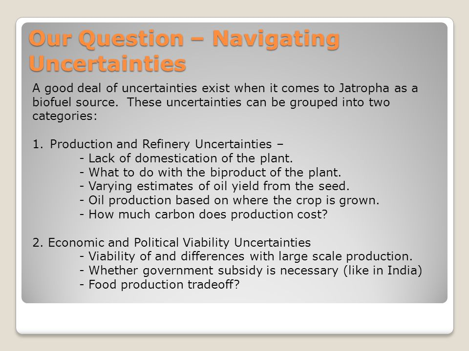 Our Question – Navigating Uncertainties A good deal of uncertainties exist when it comes to Jatropha as a biofuel source.