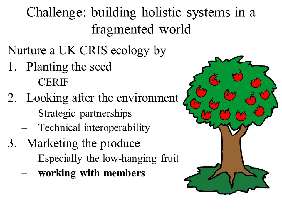 Challenge: building holistic systems in a fragmented world Nurture a UK CRIS ecology by 1.Planting the seed –CERIF 2.Looking after the environment –Strategic partnerships –Technical interoperability 3.Marketing the produce –Especially the low-hanging fruit –working with members