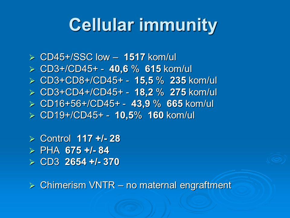 Cellular immunity  CD45+/SSC low – 1517 kom/ul  CD3+/CD45+ - 40,6 % 615 kom/ul  CD3+CD8+/CD45+ - 15,5 % 235 kom/ul  CD3+CD4+/CD45+ - 18,2 % 275 kom/ul  CD16+56+/CD45+ - 43,9 % 665 kom/ul  CD19+/CD45+ - 10,5% 160 kom/ul  Control 117 +/- 28  PHA 675 +/- 84  CD3 2654 +/- 370  Chimerism VNTR – no maternal engraftment
