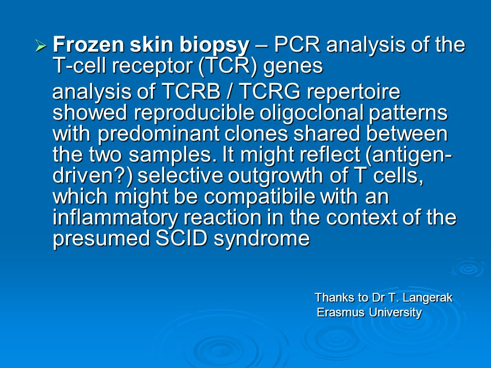  Frozen skin biopsy – PCR analysis of the T-cell receptor (TCR) genes analysis of TCRB / TCRG repertoire showed reproducible oligoclonal patterns with predominant clones shared between the two samples.