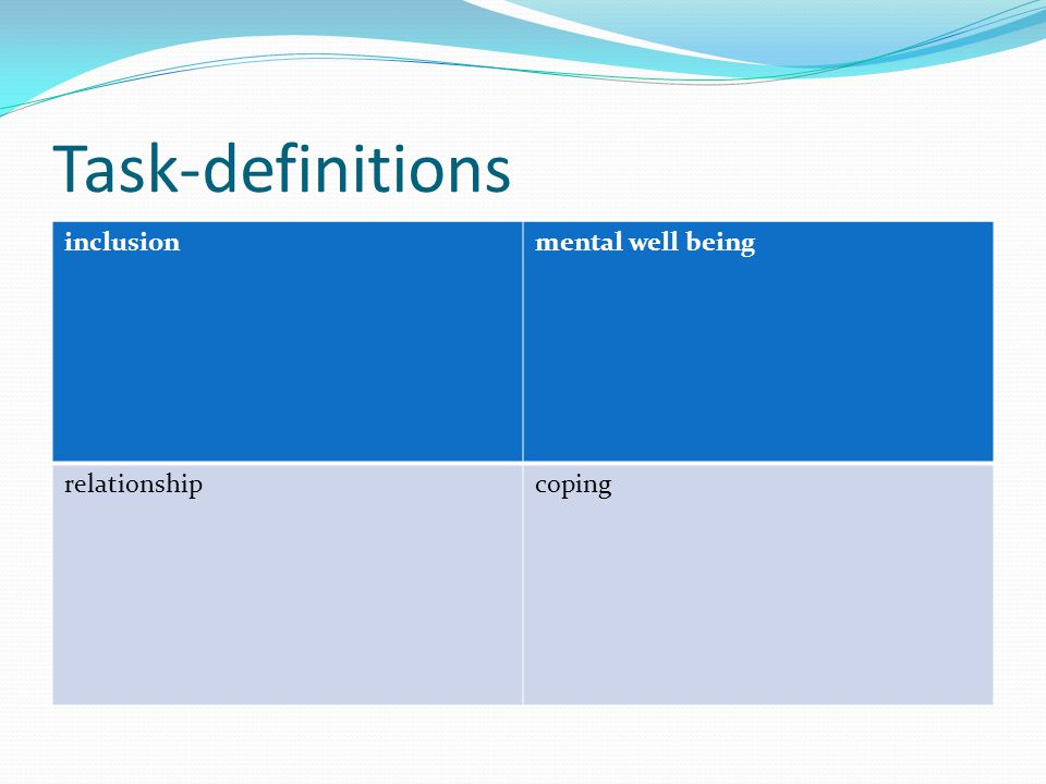 Task-definitions inclusionmental well being relationshipcoping