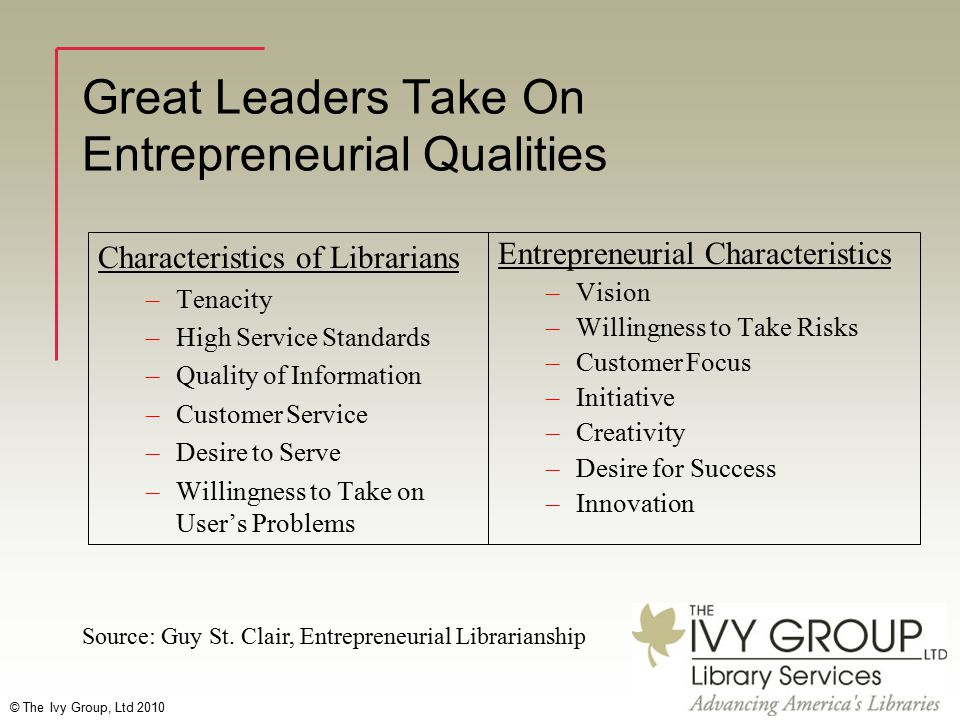© The Ivy Group, Ltd 2010 Great Leaders Take On Entrepreneurial Qualities Characteristics of Librarians –Tenacity –High Service Standards –Quality of Information –Customer Service –Desire to Serve –Willingness to Take on User's Problems Entrepreneurial Characteristics –Vision –Willingness to Take Risks –Customer Focus –Initiative –Creativity –Desire for Success –Innovation Source: Guy St.