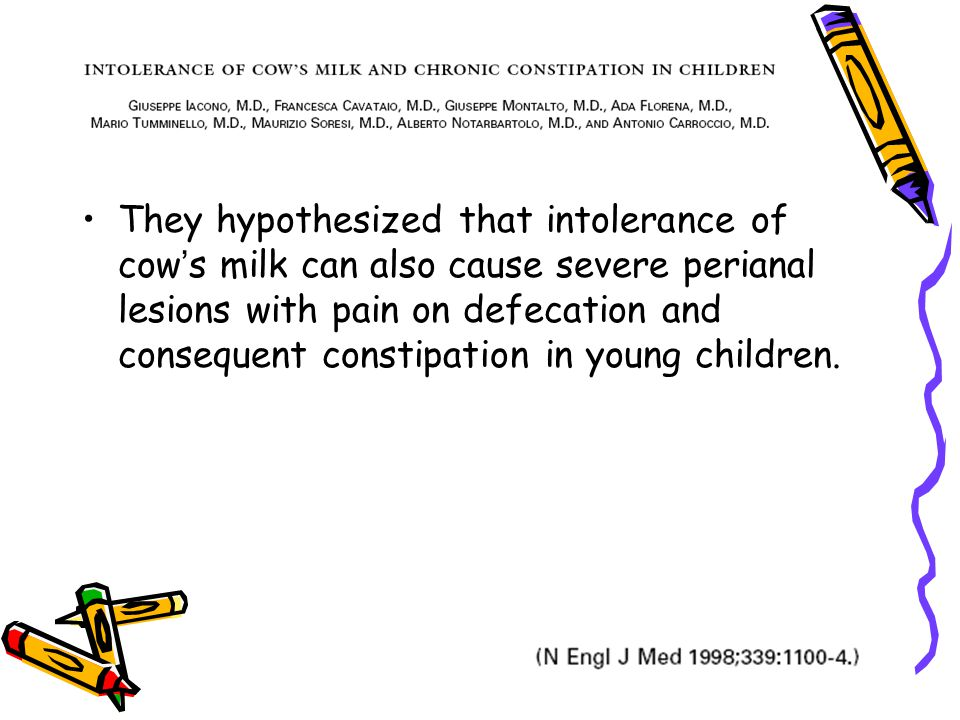 They hypothesized that intolerance of cow ' s milk can also cause severe perianal lesions with pain on defecation and consequent constipation in young children.
