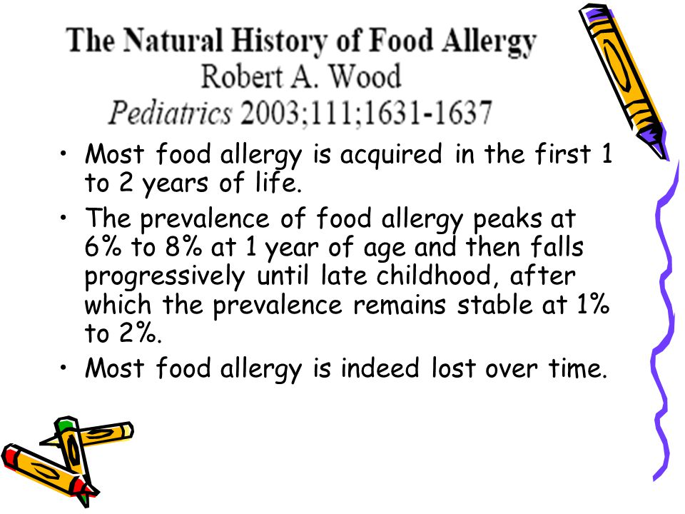Most food allergy is acquired in the first 1 to 2 years of life.