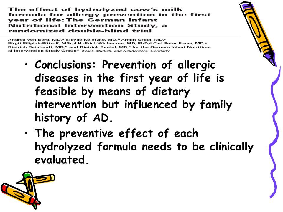 Conclusions: Prevention of allergic diseases in the first year of life is feasible by means of dietary intervention but influenced by family history of AD.
