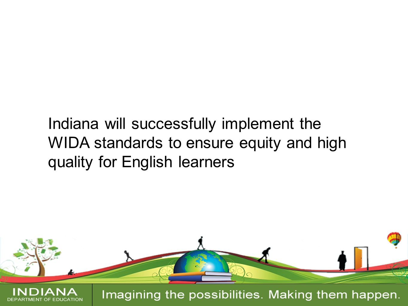Contact Information Indiana will successfully implement the WIDA standards to ensure equity and high quality for English learners