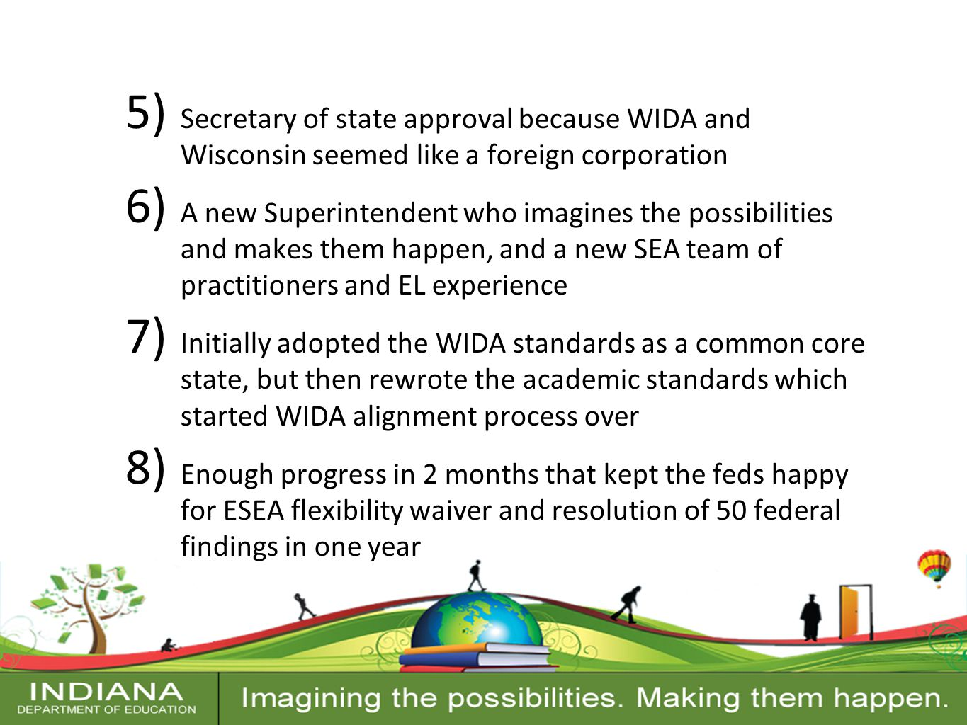 Contact Information 5) Secretary of state approval because WIDA and Wisconsin seemed like a foreign corporation 6) A new Superintendent who imagines the possibilities and makes them happen, and a new SEA team of practitioners and EL experience 7) Initially adopted the WIDA standards as a common core state, but then rewrote the academic standards which started WIDA alignment process over 8) Enough progress in 2 months that kept the feds happy for ESEA flexibility waiver and resolution of 50 federal findings in one year