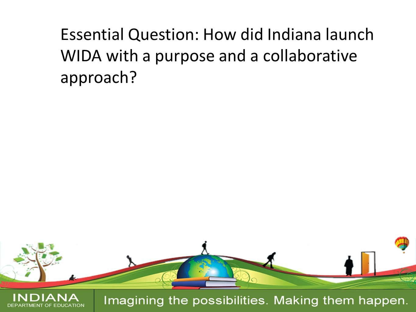 Contact Information Essential Question: How did Indiana launch WIDA with a purpose and a collaborative approach