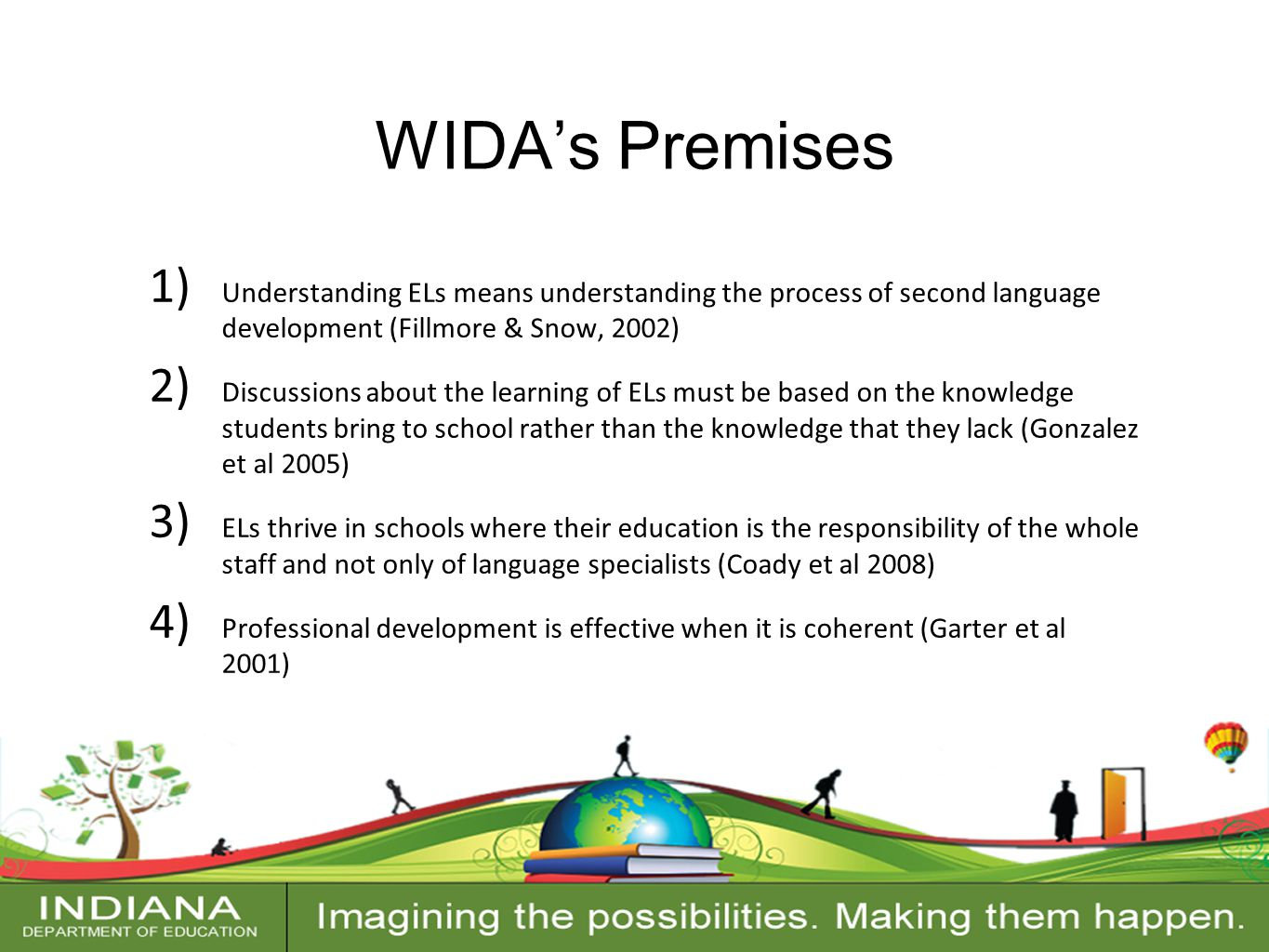 Contact Information WIDA's Premises 1) Understanding ELs means understanding the process of second language development (Fillmore & Snow, 2002) 2) Discussions about the learning of ELs must be based on the knowledge students bring to school rather than the knowledge that they lack (Gonzalez et al 2005) 3) ELs thrive in schools where their education is the responsibility of the whole staff and not only of language specialists (Coady et al 2008) 4) Professional development is effective when it is coherent (Garter et al 2001)