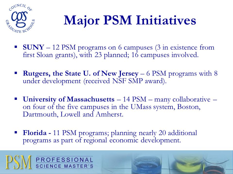 Major PSM Initiatives  SUNY – 12 PSM programs on 6 campuses (3 in existence from first Sloan grants), with 23 planned; 16 campuses involved.