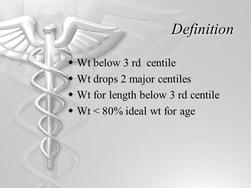 Definition  Wt below 3 rd centile  Wt drops 2 major centiles  Wt for length below 3 rd centile  Wt < 80% ideal wt for age