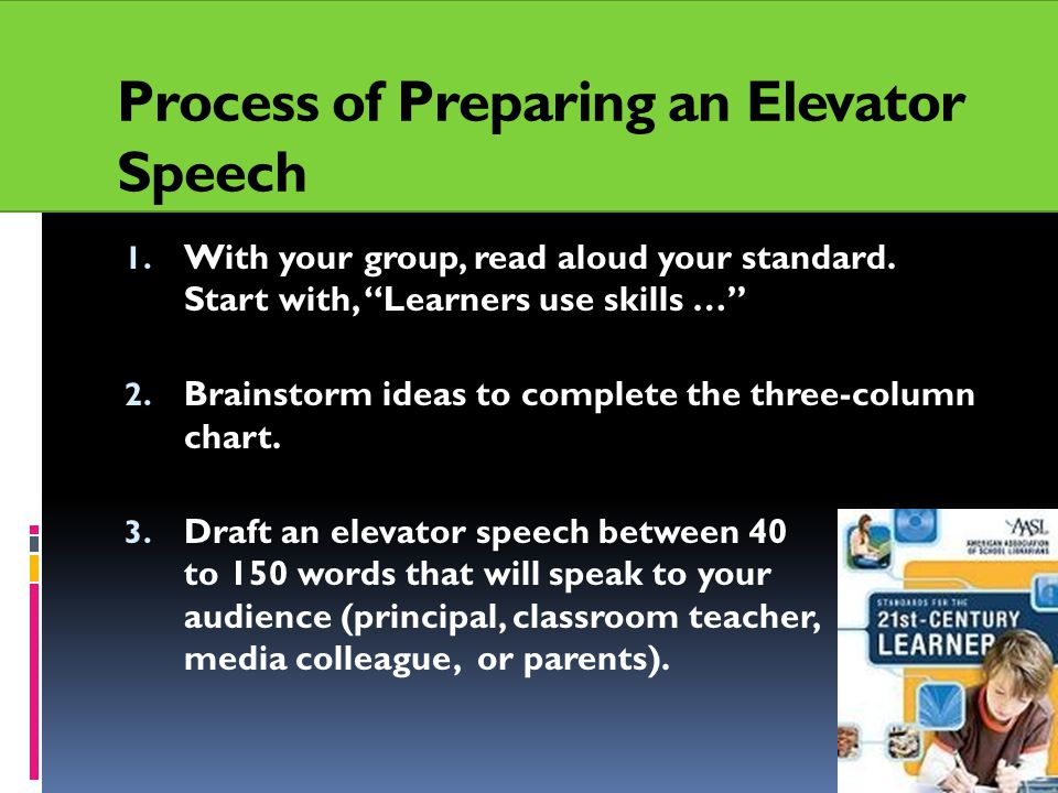 Process of Preparing an Elevator Speech 1. With your group, read aloud your standard.