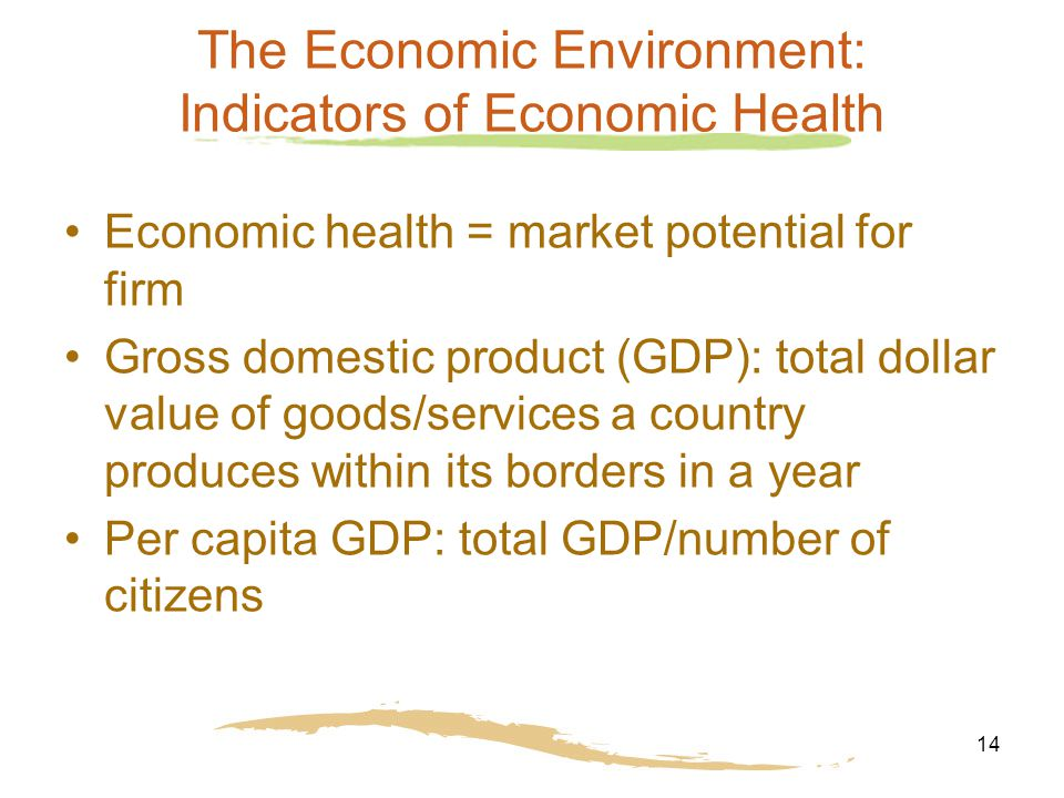 14 The Economic Environment: Indicators of Economic Health Economic health = market potential for firm Gross domestic product (GDP): total dollar value of goods/services a country produces within its borders in a year Per capita GDP: total GDP/number of citizens