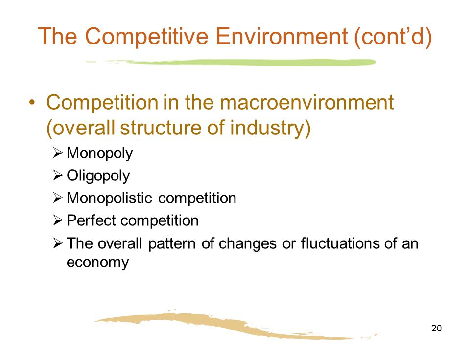 20 The Competitive Environment (cont'd) Competition in the macroenvironment (overall structure of industry)  Monopoly  Oligopoly  Monopolistic competition  Perfect competition  The overall pattern of changes or fluctuations of an economy