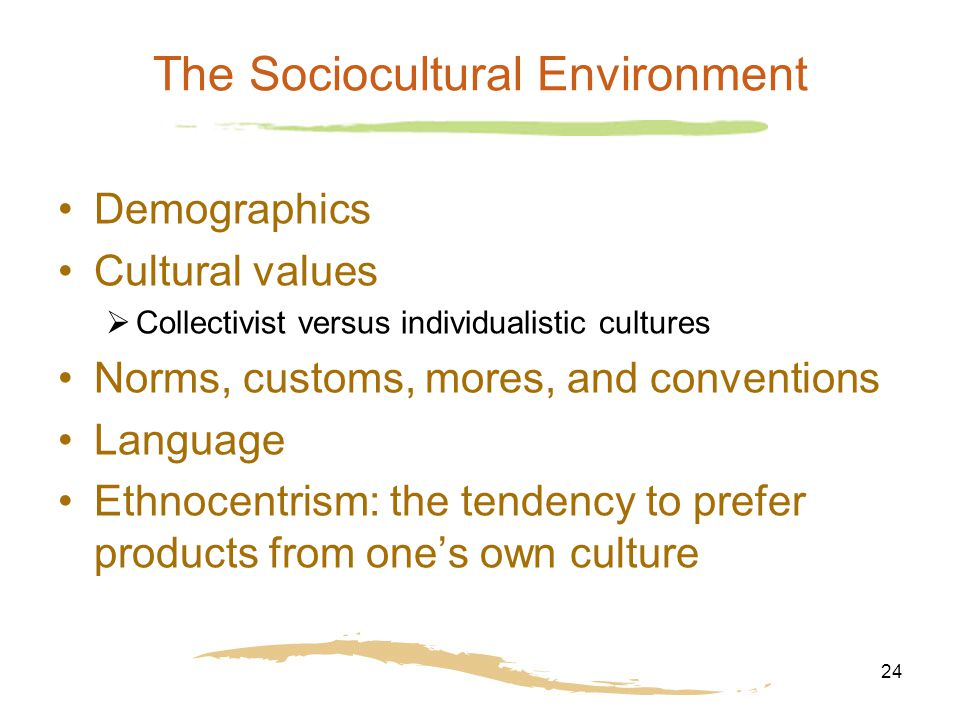 24 The Sociocultural Environment Demographics Cultural values  Collectivist versus individualistic cultures Norms, customs, mores, and conventions Language Ethnocentrism: the tendency to prefer products from one's own culture