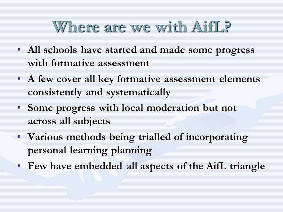 Embedding the AifL Principles What does it mean.