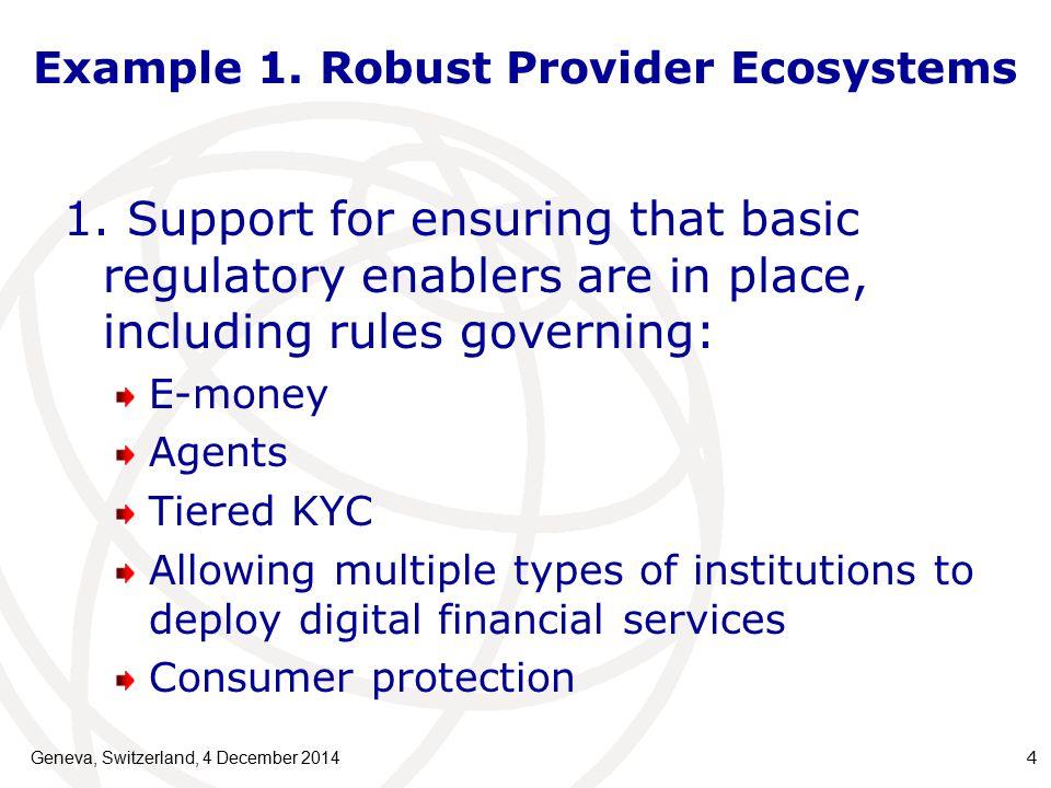 Example 1. Robust Provider Ecosystems Geneva, Switzerland, 4 December 2014 4 1.