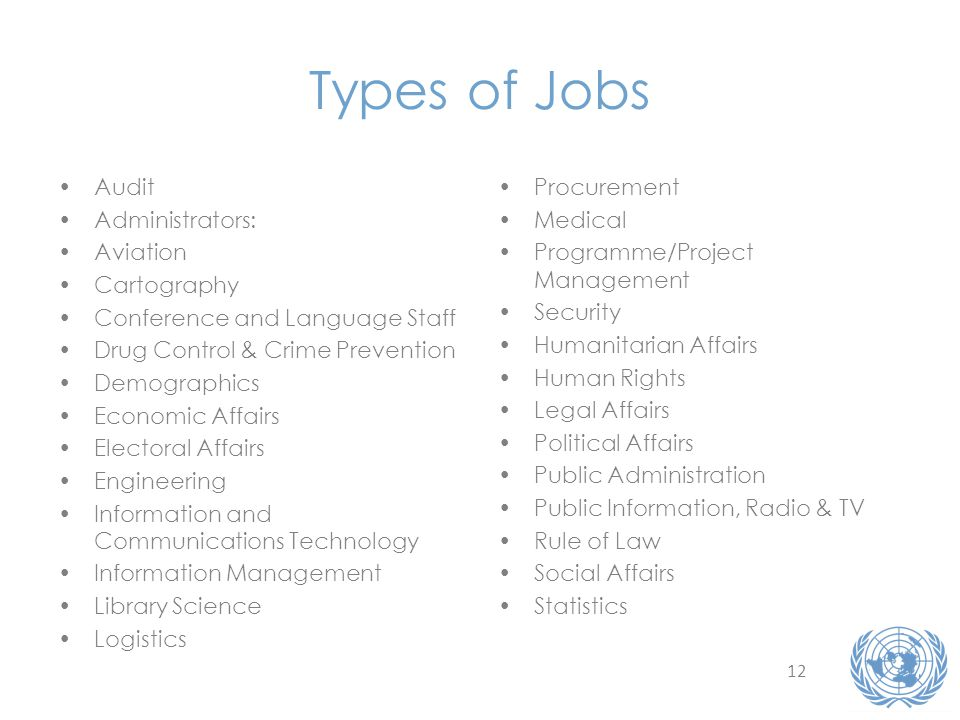 12 Types of Jobs Audit Administrators: Aviation Cartography Conference and Language Staff Drug Control & Crime Prevention Demographics Economic Affairs Electoral Affairs Engineering Information and Communications Technology Information Management Library Science Logistics Procurement Medical Programme/Project Management Security Humanitarian Affairs Human Rights Legal Affairs Political Affairs Public Administration Public Information, Radio & TV Rule of Law Social Affairs Statistics