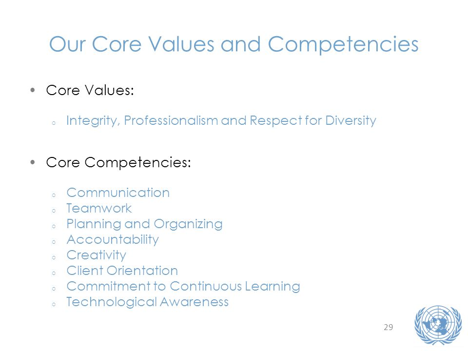 29 Our Core Values and Competencies Core Values: o Integrity, Professionalism and Respect for Diversity Core Competencies: o Communication o Teamwork o Planning and Organizing o Accountability o Creativity o Client Orientation o Commitment to Continuous Learning o Technological Awareness