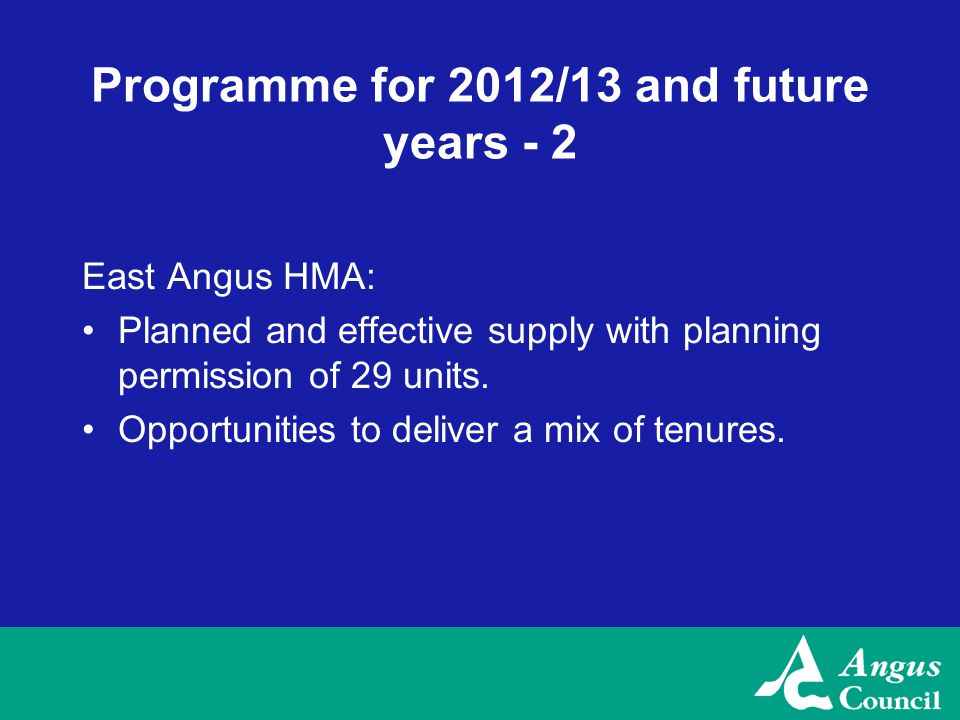 Programme for 2012/13 and future years - 2 East Angus HMA: Planned and effective supply with planning permission of 29 units.