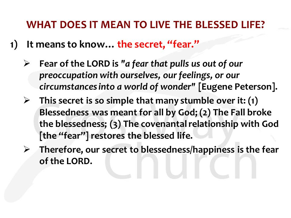 WHAT DOES IT MEAN TO LIVE THE BLESSED LIFE.