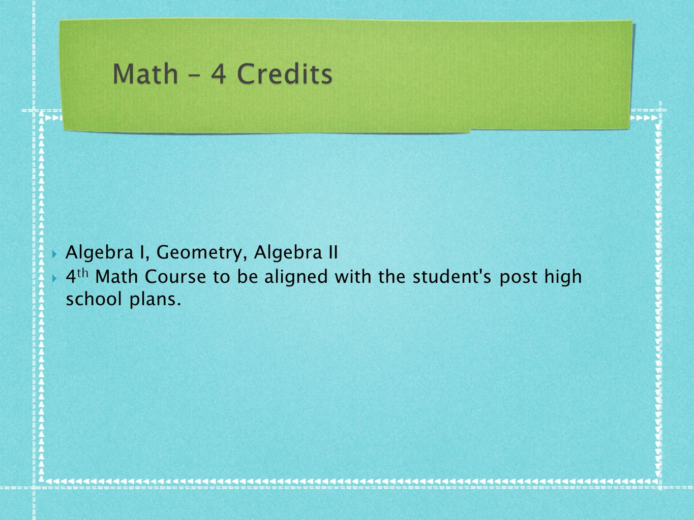  Algebra I, Geometry, Algebra II  4 th Math Course to be aligned with the student's post high school plans.