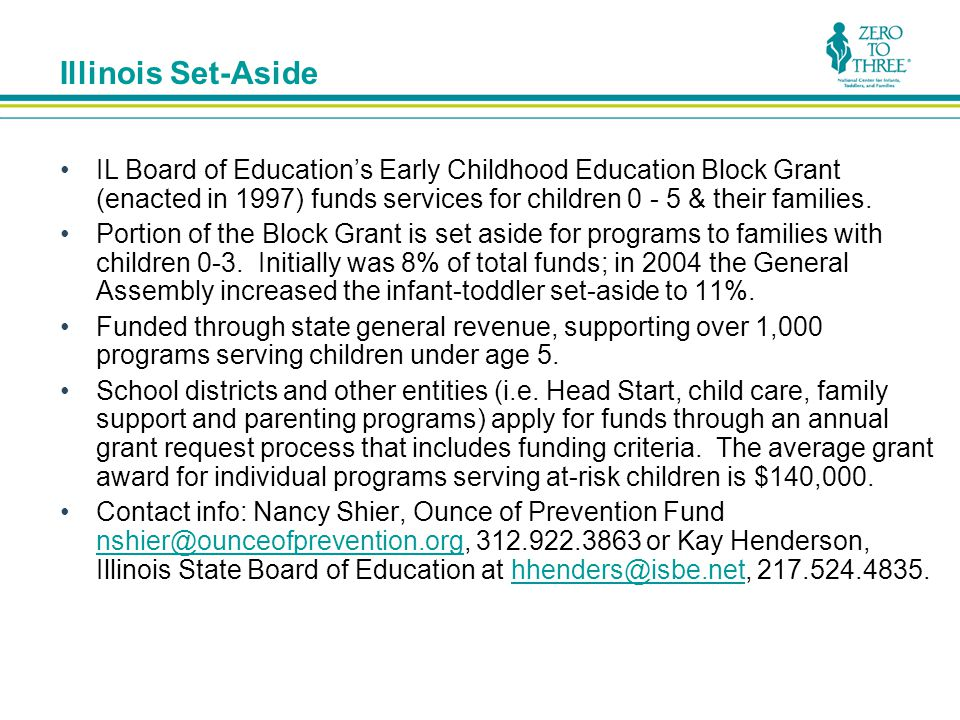 Illinois Set-Aside IL Board of Education's Early Childhood Education Block Grant (enacted in 1997) funds services for children 0 - 5 & their families.