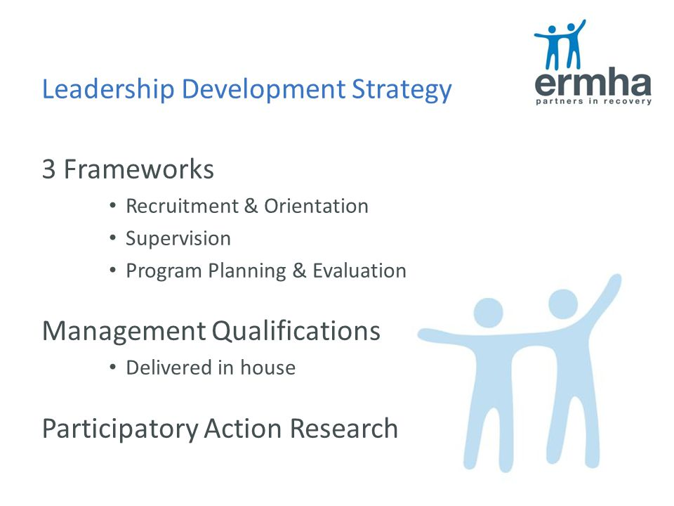 Leadership Development Strategy 3 Frameworks Recruitment & Orientation Supervision Program Planning & Evaluation Management Qualifications Delivered in house Participatory Action Research