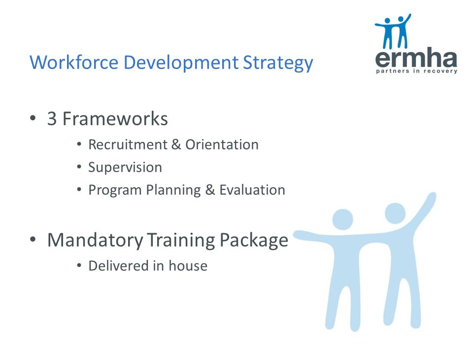Workforce Development Strategy 3 Frameworks Recruitment & Orientation Supervision Program Planning & Evaluation Mandatory Training Package Delivered in house