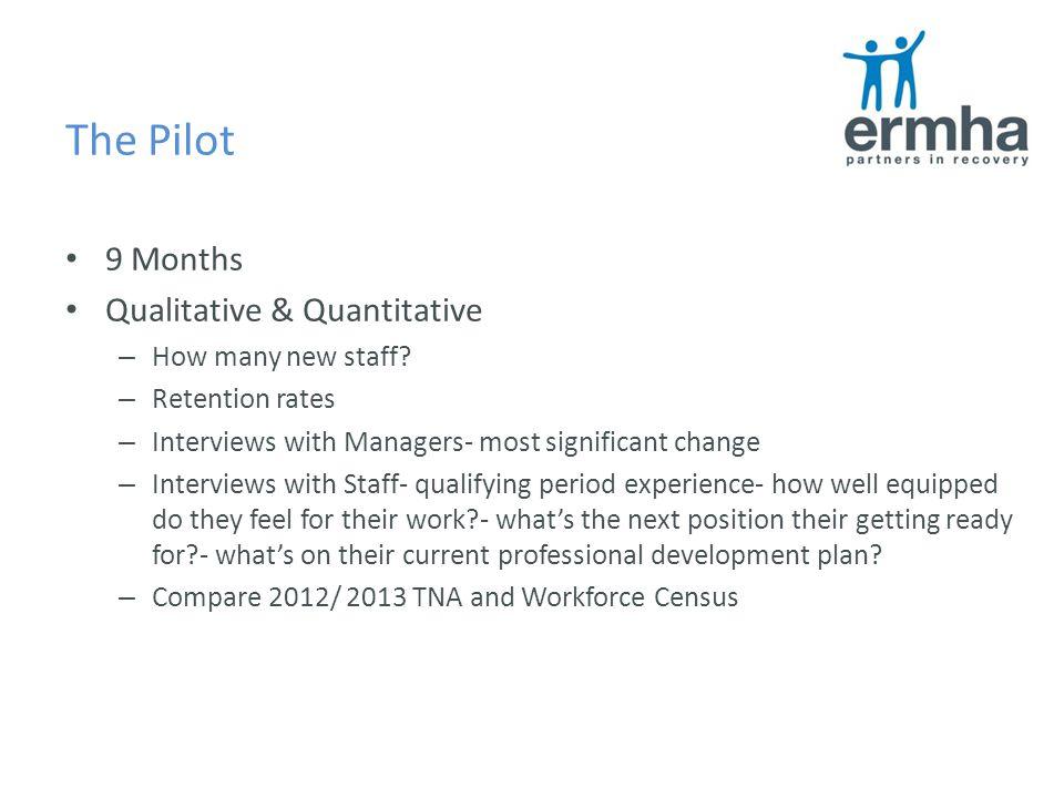 The Pilot 9 Months Qualitative & Quantitative – How many new staff.