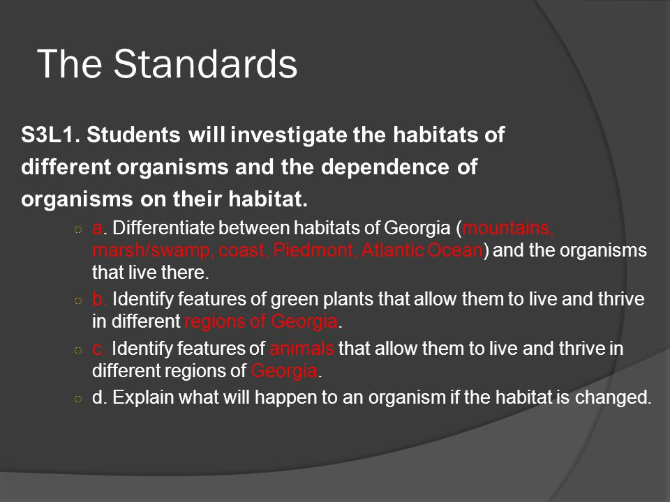 The Standards S3L1. Students will investigate the habitats of different organisms and the dependence of organisms on their habitat. ○ a. Differentiate