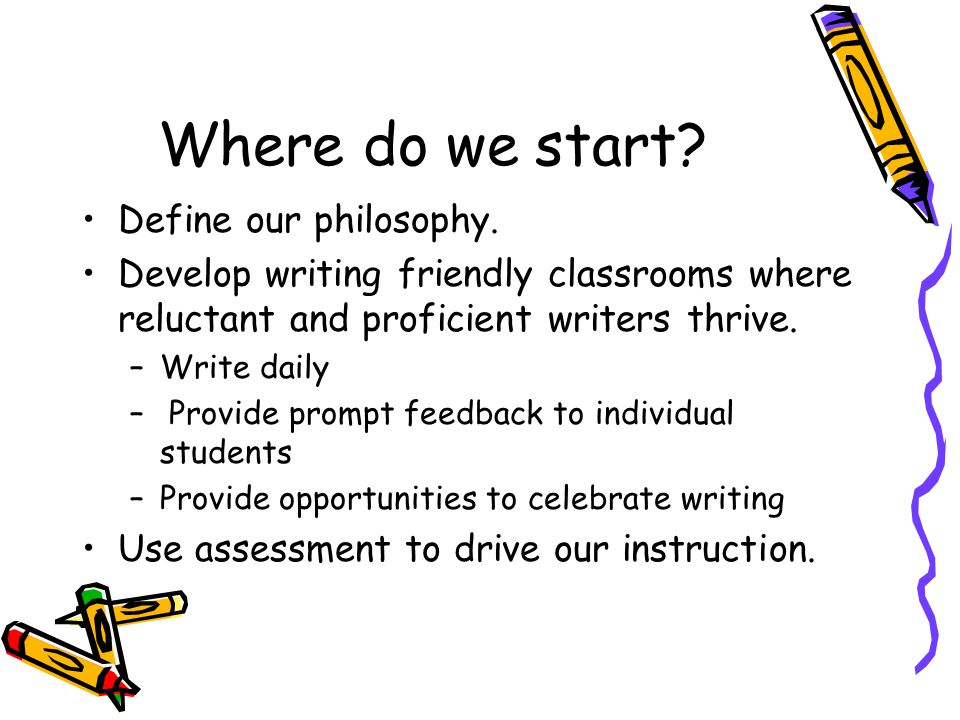 Where do we start? Define our philosophy. Develop writing friendly classrooms where reluctant and proficient writers thrive. –Write daily – Provide pr