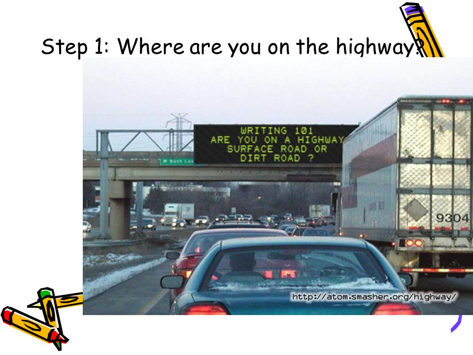 Step 1 Step 1: Where are you on the highway?